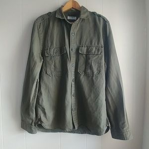 Express Army Green Military Style Button Up Shirt